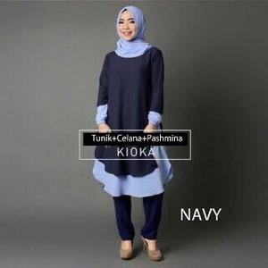 baju muslim setelan / setelan hijab / setelan tunik / kioka set navy