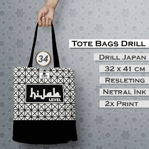 Totebag Drill Monochrome - Hijab Level
