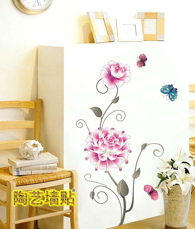 jual pink white flower wall sticker transparant azka rmk2783gm black amp white flower scroll giant wall stickers