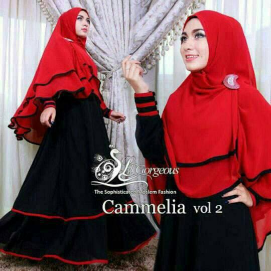 set hijab camelia red black/baju muslimah terbaru/pakaian gamis wanita