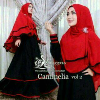 set hijab camelia merah hitam/baju busana muslim terbaru/gamis wanita