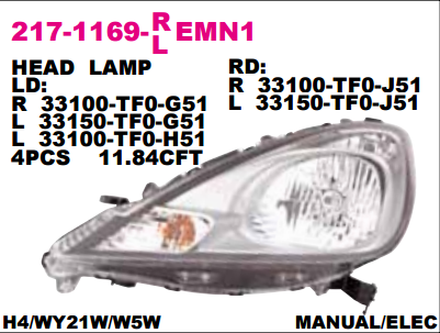 HEAD LAMP / LAMPU DEPAN MOBIL JAZZ 2010