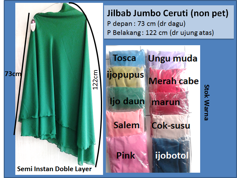 jilbab ceruti jumbo/khimar ceruti jumbo/hijab ceruti 2 layer (non pet)