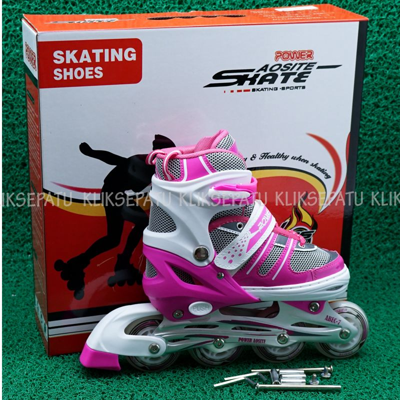 Jual Sepaturoda ban karet   Sepatu roda bajaj Power Aosite Pink -  Kliksepatu  befb4dff0b