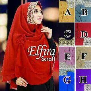 Hijab/Jilbab Khimar Elfira  Jilbab khimar dua lapis ceruti, dengan aks