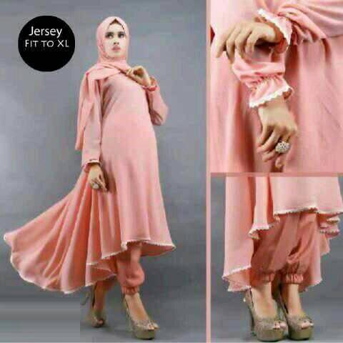 Setelan Baju Hijab Muslim Tunik, Jogger Pants, Pasmina
