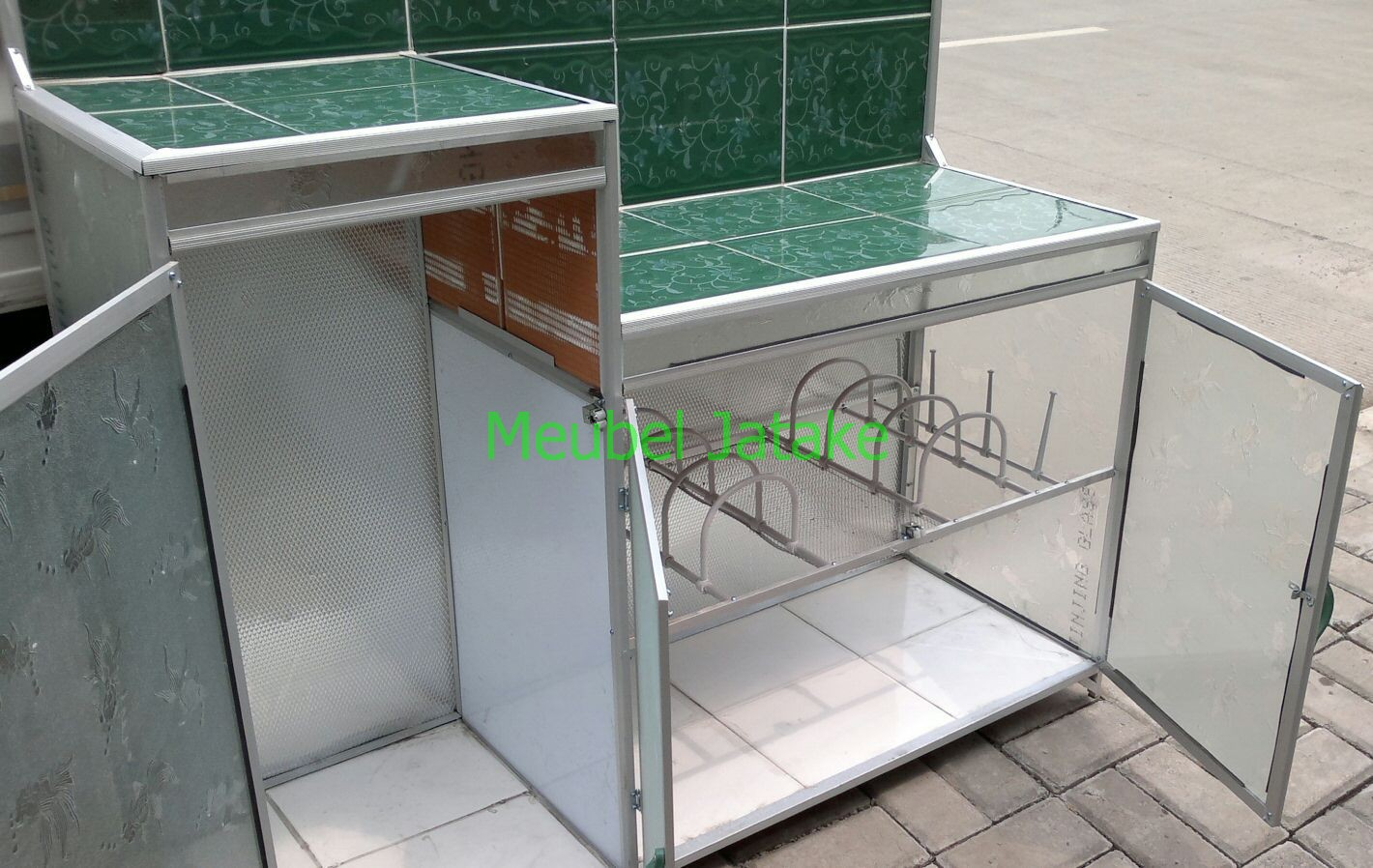 Jual Meja Dapur Meja Kompor 3 Pintu Rak Piring Model L