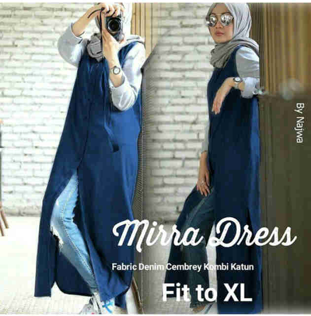 mira dress katun paris fit L khusus /hijab