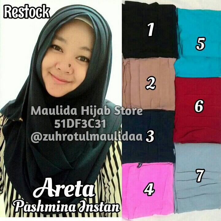 Pashmina instan Areta / Maulida Hijab Store / grosir jilbab/ jersey