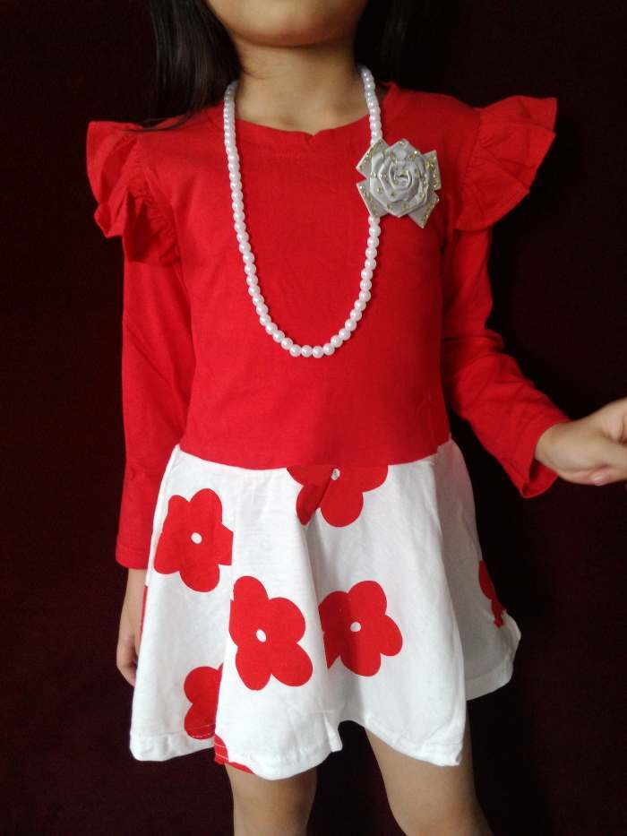 DRKD81 - Dress Anak LP Red Flower + Kalung + Bros