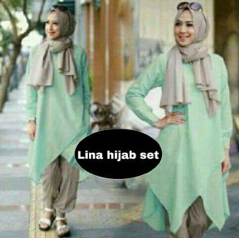 hijab Lina Set hijau 3in1