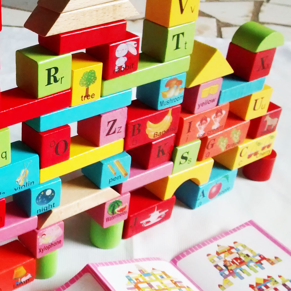 harga Building Blocks 65 Pcs (Balok Susun Kayu) + Ember Sortir + Tas Tokopedia.com