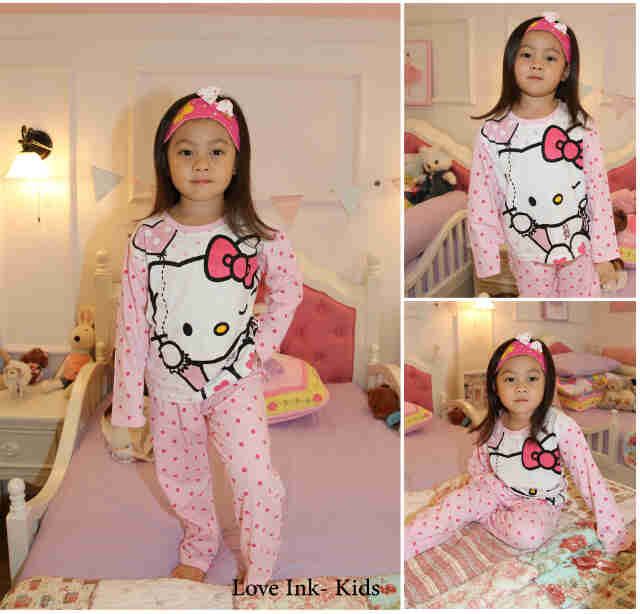 STKDHK110 - Setelan Anak Hello Kitty Pink Dot Love Ballon