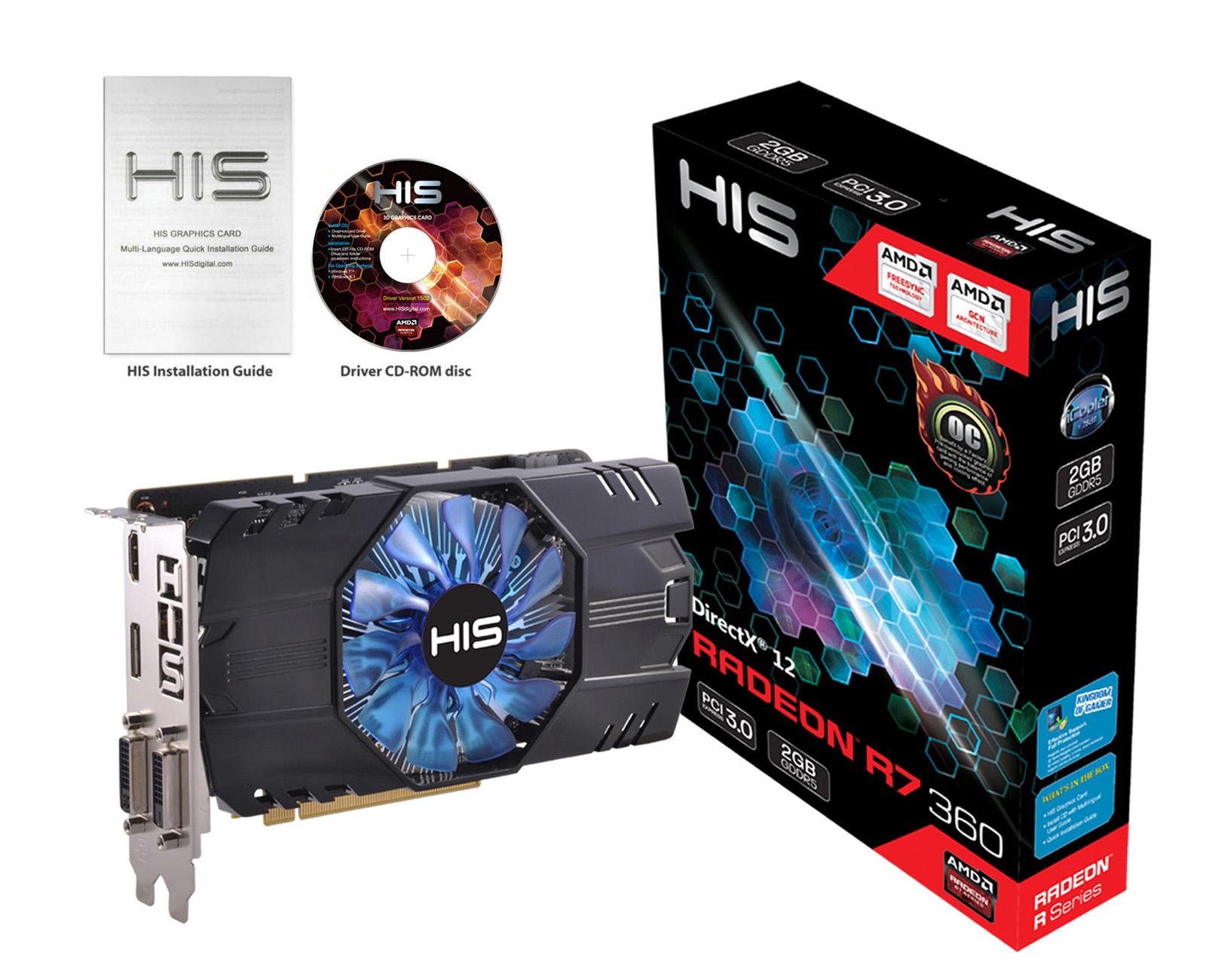 VGA Card HIS R7 360 Icooler2 OC 2Gb DDR5 murah