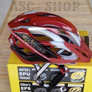 Helm Sepeda Merk United F55r Phoenix  Warna Merah Putih  Kualitas Top