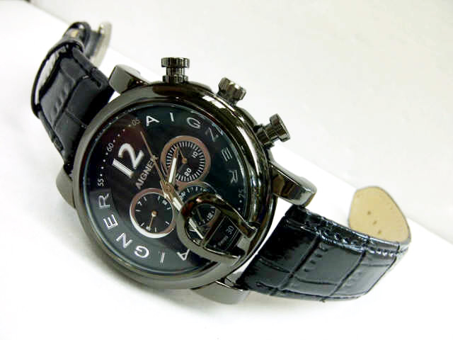 Jam Tangan Pria Aigner Bari Chrono Automatic Leather Full Black