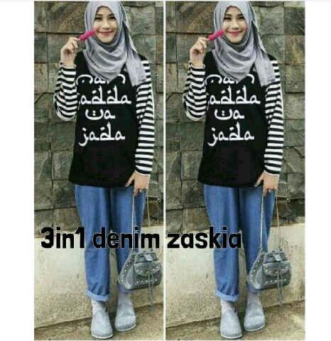 Blouse celana hijab spandek denim zaskia (hitam) M