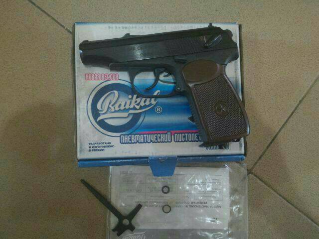 Airgun Baikal Makarov Rusia MP-654K Grip Coklat + Co2 + Gotri