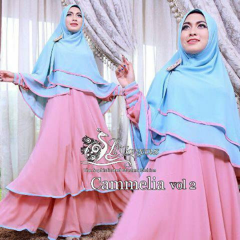 Hijab Camelia Pink 2in1  (Maxi + Bergo)
