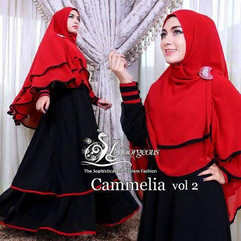 Hijab Camelia Red 2in1 (Maxi + Bergo)