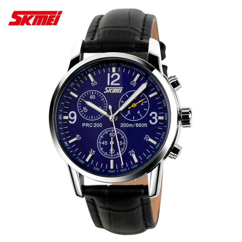 Jam Tangan Pria Original Kulit SKMEI Casio Men Casual Model Black