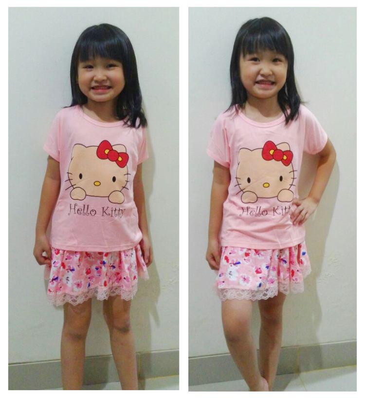 STKD260 - Setelan Anak Rok Hello Kitty Pink Flower Murah