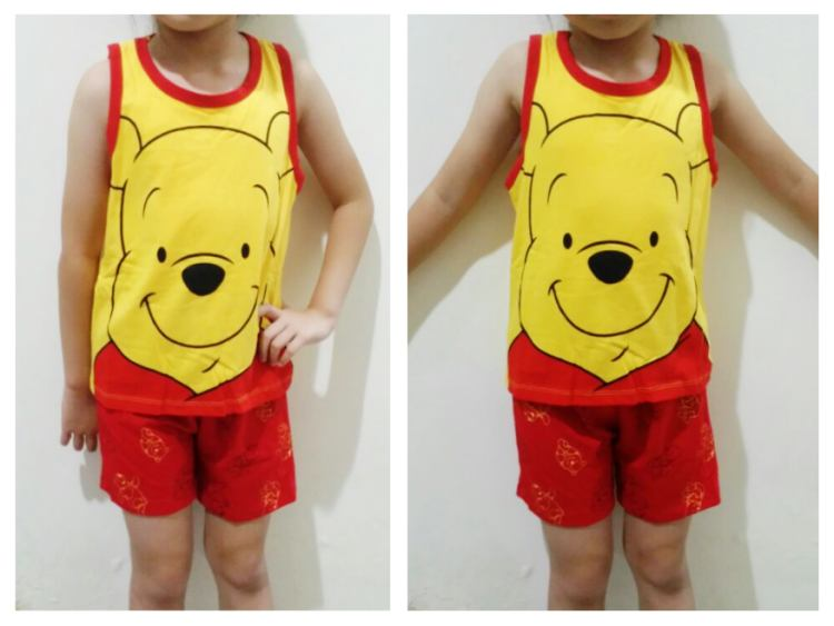 STKDL211 - Setelan Anak Tanktop Pooh Big Face Yellow Red Murah