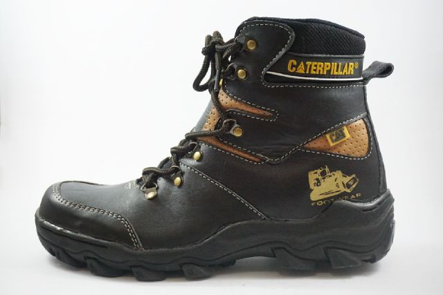 sepatu boot safety caterpillar pajero black kulit Murah