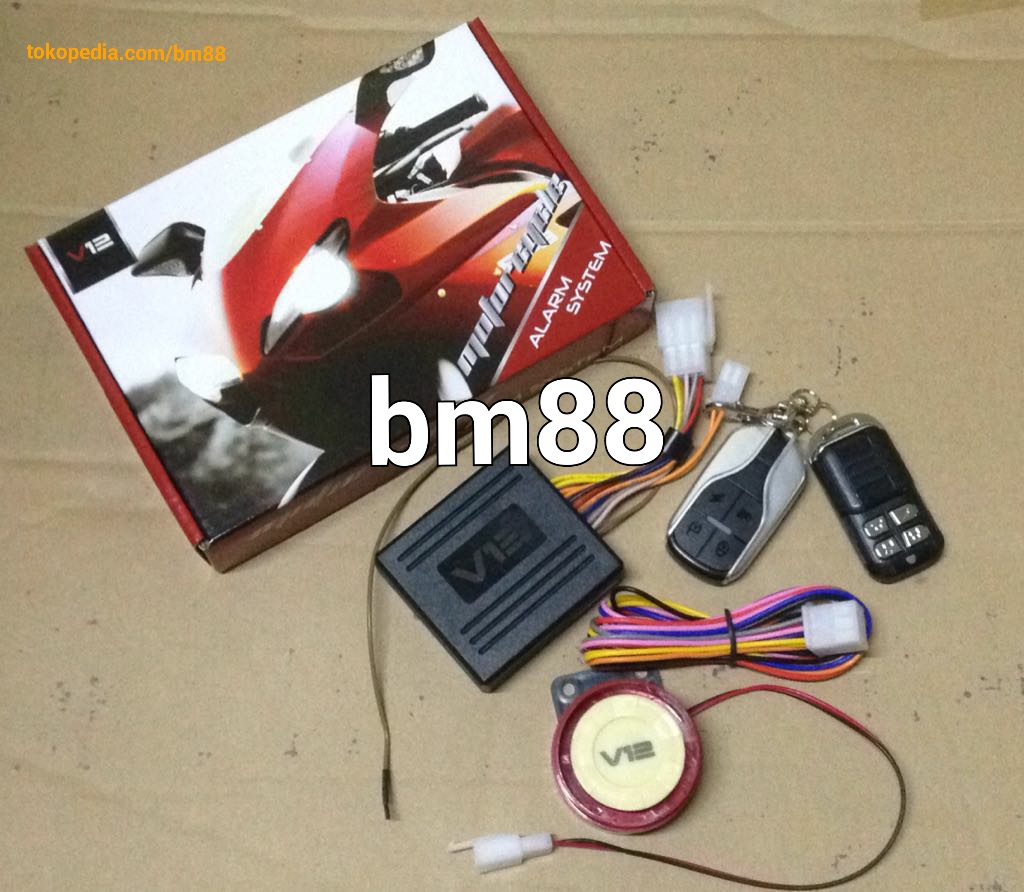 jual alarm motor remote starter v12 setara bht barokahmotor88 rh tokopedia com Cobra Car Alarm Wiring Diagram Alarm Panel Wiring