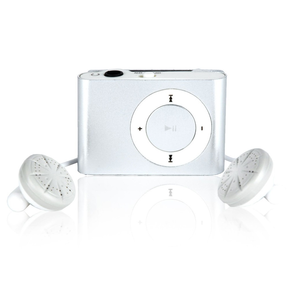 Pod MP3 Player TF Card With Small Clip Silver - Silver