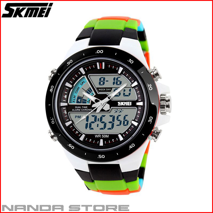 Jam Tangan Pria ORIGINAL SKMEI Dual Time Zone Digital 5 ATM Waterproof