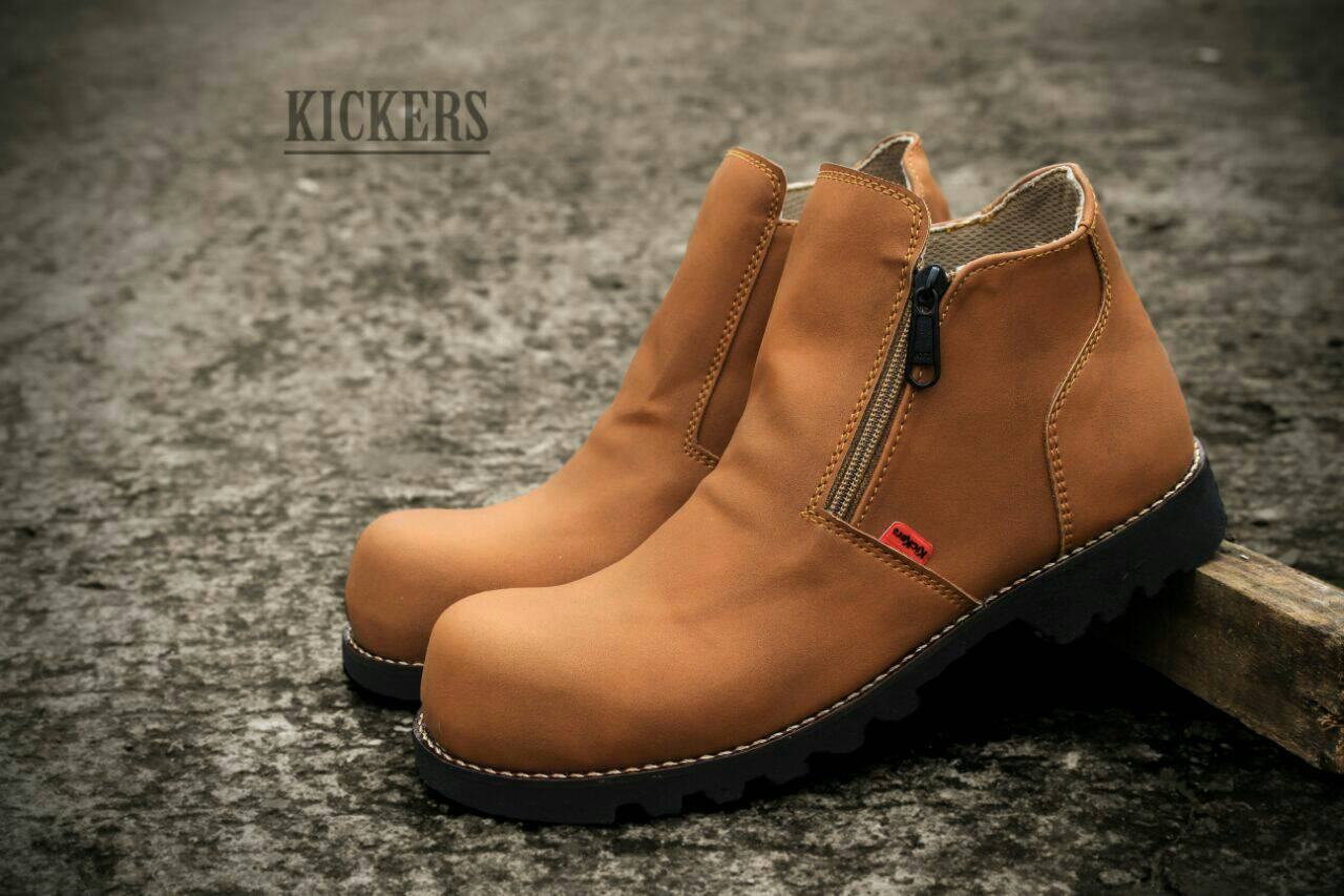 kickers sleting boot safety tan Murah