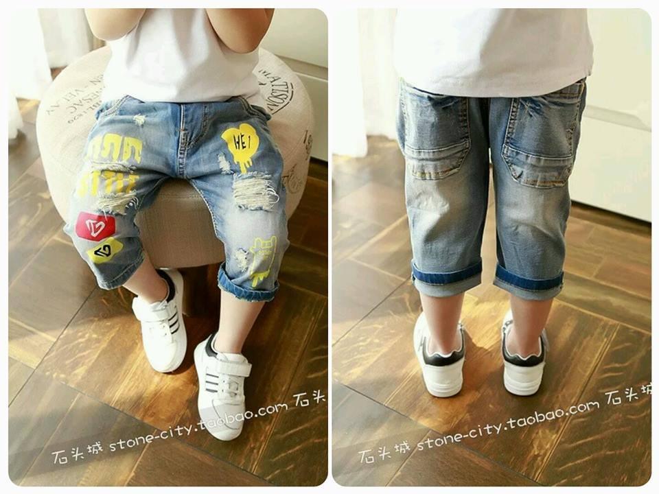 Jeans Pendek Anak Sobek Belel Sablon | Jeans Biru Import Branded