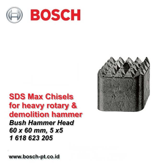 Mata Pahat Bush Hammer Head Bosch 60 X 60mm, 5x5 SDS Max 1 618 623 205
