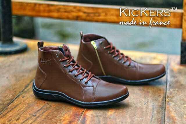Jual Sepatu Boots Pria Kickers Zipper 02 Skinny Leather Darkbrown ... eeb7a60f70