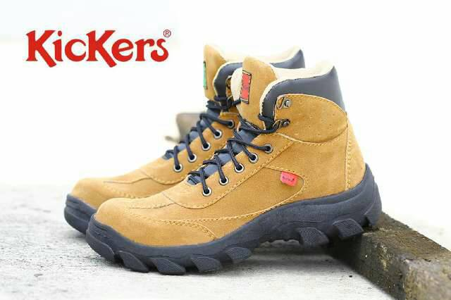 kickers tracking safety tan suede Murah