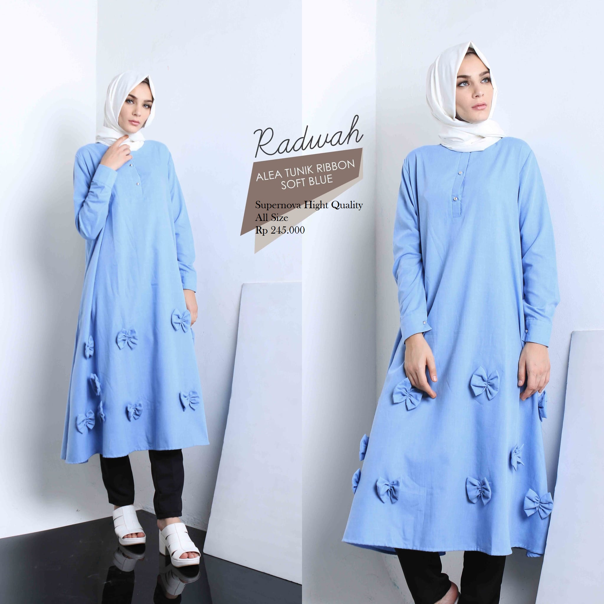 Jual Blus Alea Tunik Ribbon By Radwah Ad Fashion Tokopedia