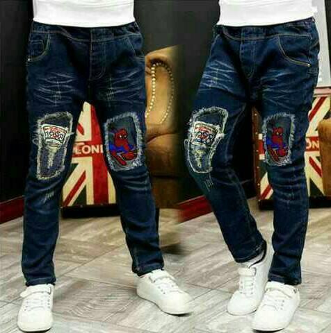 Celana Jeans Panjang Anak Laki Cowok Import Stretch Spiderman