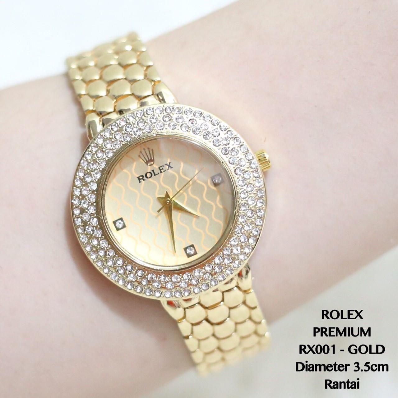 Jam tangan rolex grosir wanita gold fashion diamond chrono rantai