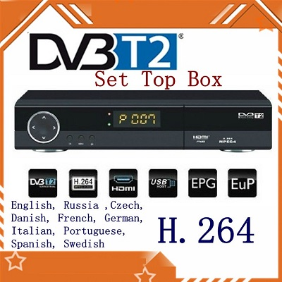 H.264 / MPEG4 DVB-T2 HD / SDTV Receiver Digital Television Box