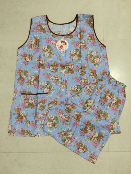 Baju Tidur Full Kancing Motif Bunga Tanpa Lengan Cln Pdk / Yukensi