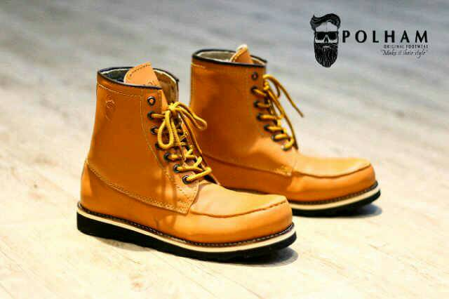 sepatu boot safety polham plauqe tan original Murah