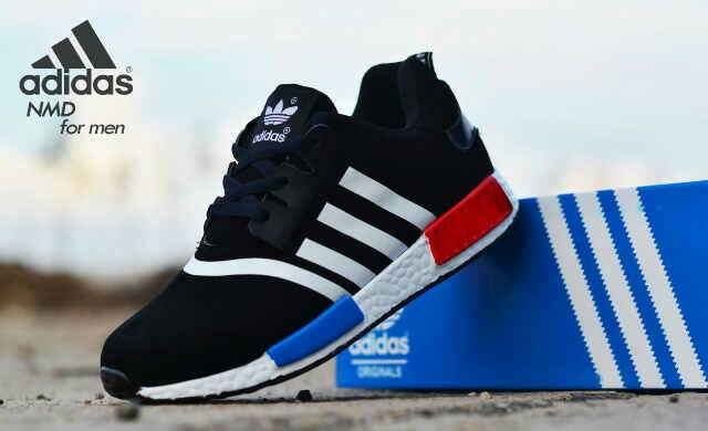 adidas NMD men black white Murah