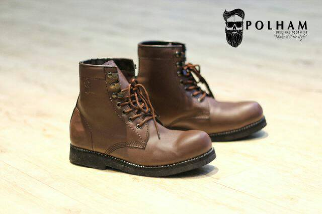 sepatu boot safety polham verre brown original Murah