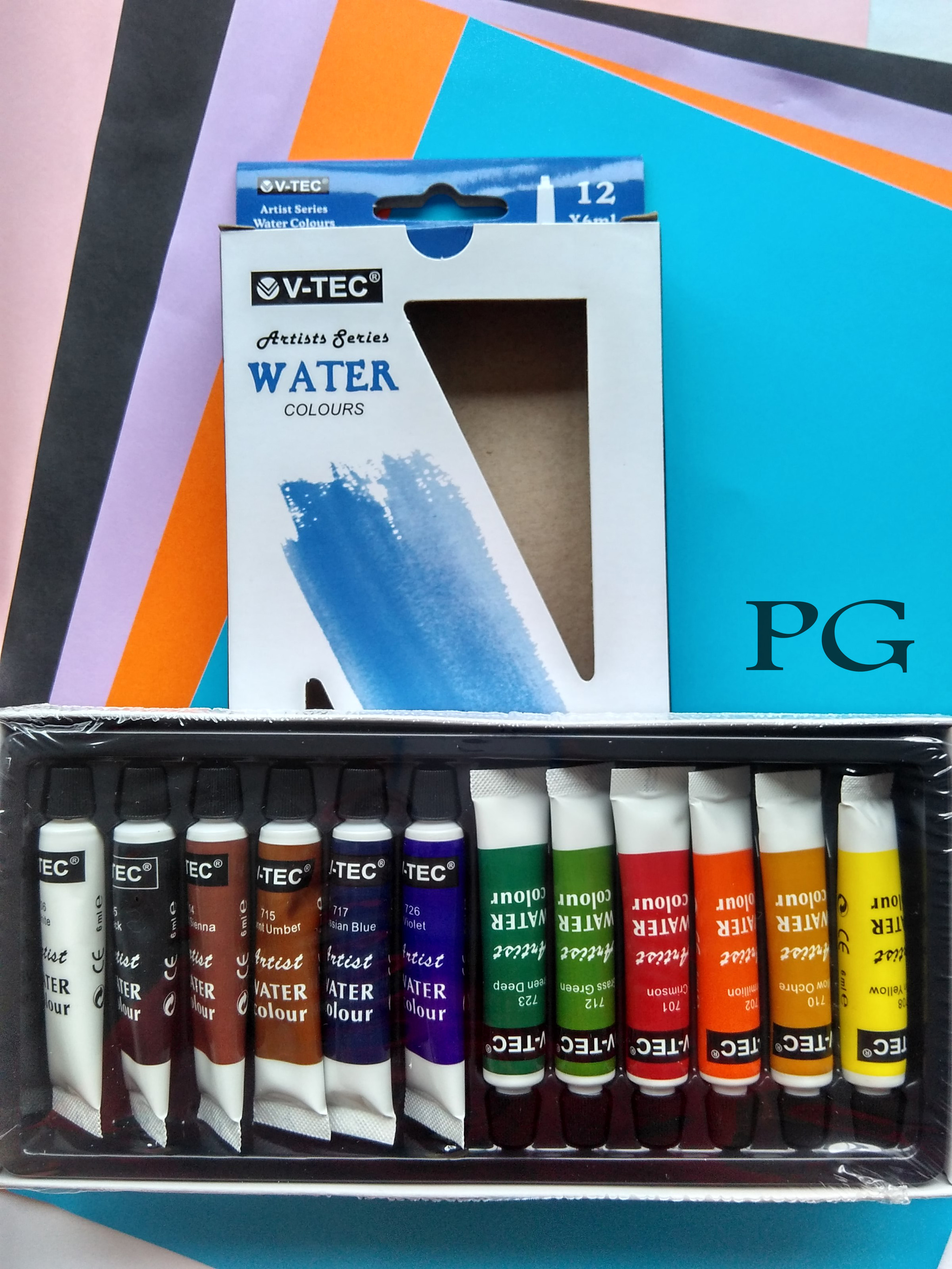 V TEC WATER COLOURS / CAT AIR 12 WARNA 6 ML (LUSINAN)