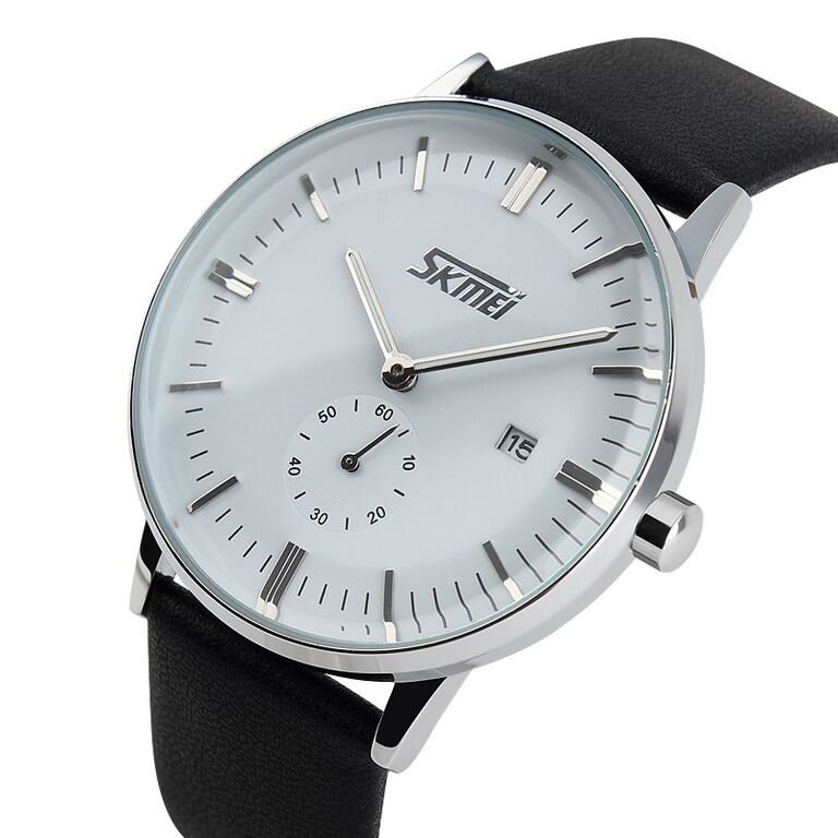 Jual SKMEI Casual Men Leather Strap Watch Water Resistant 9083CL Tahan Air - Techno Co.