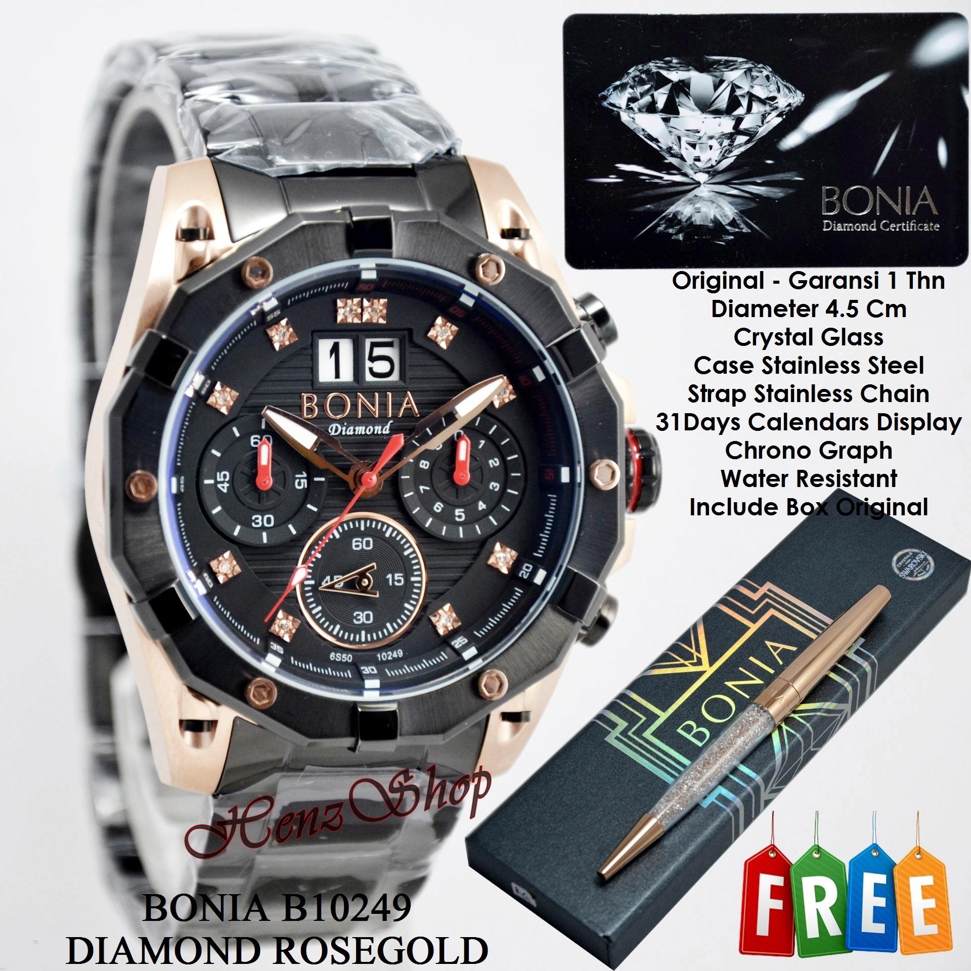 Gambar Jam Tangan Bonia Pria Original Bpt191 1332c Stainless Steel Silver 1032c Jual B10249 Diamond Rosegold