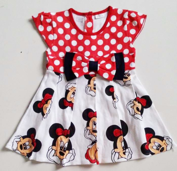 DRKD103 - Dress Anak Kecil Minnie Mouse Red (1-2thn) Murah