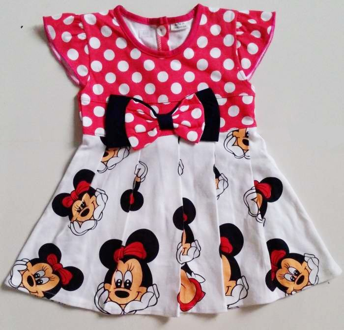 DRKD104 - Dress Anak Kecil Minnie Mouse Pink (1-2thn) Murah