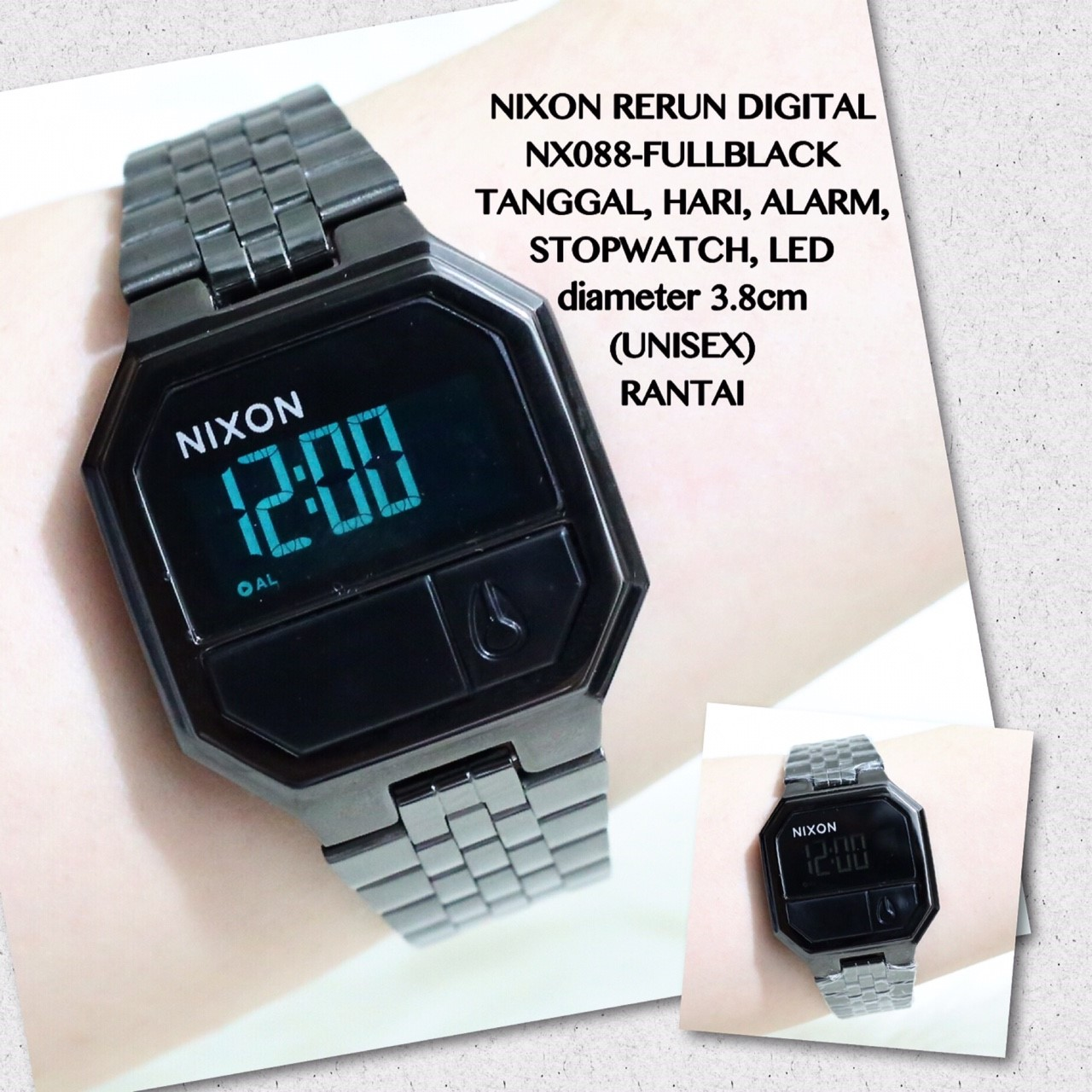 Jam tangan NIXON RERUN digital ukuran unisex grosir termurah import